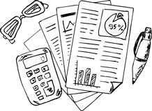 Sketchy Accounting and Finance report. Isolated on white Royalty Free Stock Photos
