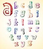sketchy alfabet royaltyfri illustrationer