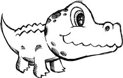 Sketchy Alligator Vector Illustration Royalty Free Stock Image