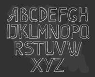 Sketchy alphabet on black background. Royalty Free Stock Photo