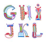 Sketchy alphabet design Stock Images