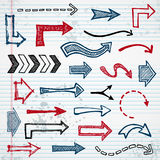 Sketchy arrows. Set of sketched arrow shapes on notepad background Royalty Free Stock Photo
