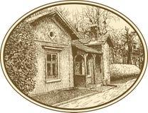 Sketchy artistic village landscape composition Stock Photo