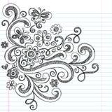 Sketchy Back för blommor till skolaklotter vektor illustrationer