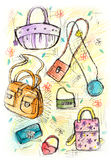Sketchy Bags. Bags illustration created in a colorful, sketchy style. Similar illustrations featuring other accessories are available in portfolio Stock Photography