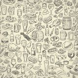 Sketchy beer and snacks Stock Images