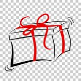 Sketchy oF Black Outline Rectangle Gift Box, with Red ribbon, at Transparent Effect Background. Vector Sketchy oF Black Outline Rectangle Gift Box, with Red Stock Photography