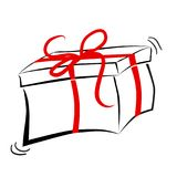 Sketchy oF Black Outline Rectangle Gift Box, with Red ribbon. Vector Sketchy oF Black Outline Rectangle Gift Box, with Red ribbon Stock Photo