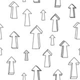 Sketchy black and white Up arrows and pointers seamless pattern, vector Royalty Free Stock Images