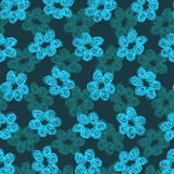 Sketchy Blue Flower Pattern Stock Image
