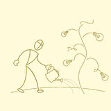 Sketchy businessman gardening in bulb tree Royalty Free Stock Photography