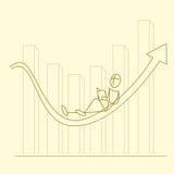Sketchy businessman on graph. Illustration of sketchy businessman on graph Royalty Free Stock Images