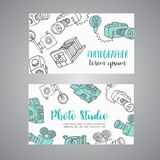 Sketchy bussines card for photographer. hand drawn doodle cartoon retro photo cameras, vector illustration. Photo theme design Stock Images