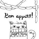 Sketchy cat with sausages, bon appetit. Royalty Free Stock Photography