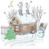 Sketchy Christmas house Stock Photography