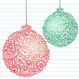 Sketchy Christmas Ornaments Notebook Doodles. Vector Illustration- Hand-Drawn Sketchy Notebook Doodles of Christmas Ornaments made from Paisley Henna Shapes on Stock Photo