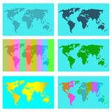 Sketchy color map of the world vector illustration