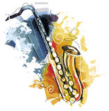 Sketchy colorful Saxophone. Sketchy Saxophone, illustrated digital on white Stock Photography