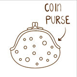 Sketchy contour illustration of cute dotted coin purse Royalty Free Stock Photography