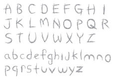 Sketchy Crayon Textured Alphabets Vector Font Design Stock Images
