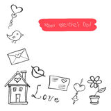Sketchy cute love signs  doodles, vector illustration Royalty Free Stock Photos