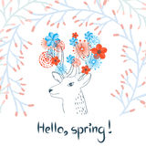 Sketchy deer with watercolor flowers. Spring vector Royalty Free Stock Photos