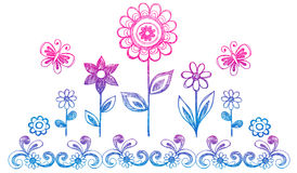 Sketchy Doodle Flowers Vector. Sketchy Doodle Flower Garden Vector Illustration Royalty Free Stock Images