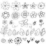 Sketchy Doodle Flowers Vector. Sketchy Doodle Flowers and Cute Bugs Vector Illustration Royalty Free Stock Photos