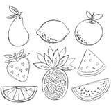 Sketchy Doodle Fruit Vector. Illustration including Pear, Lemon, Orange, Strawberry, Orange Wedge, Pineapple, and Watermelon Wedge stock illustration
