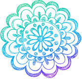 Sketchy Doodle Henna Flower Vector Stock Photography