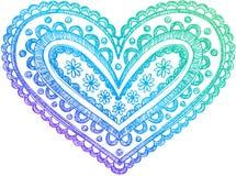 Sketchy Doodle Henna Heart Vector stock illustration