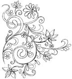 Sketchy Doodle Ornate Scroll Vector. Sketchy Doodle Vine and Flower Scroll Vector Illustration Stock Image