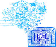 Sketchy doodle: out of the maze vector. Sketchy doodles in blue about finding the right way in a maze Stock Photography