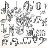 Sketchy doodle set treble clef and other music symbols Royalty Free Stock Photo