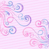 Sketchy Doodle Swirls on Notebook Paper. Hand-Drawn Sketchy Doodle Swirls on Lined Notebook Paper Background- Vector Illustration Royalty Free Stock Photo