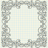 Sketchy Doodles Border on Notebook Paper Stock Photography
