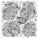 Sketchy doodles cartoon set of Easter objects Royalty Free Stock Image