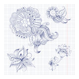 Sketchy doodles decorative floral outline Stock Photo