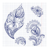 Sketchy doodles decorative floral pattern Royalty Free Stock Image