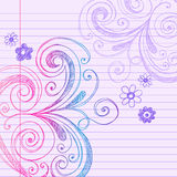 Sketchy Doodles on Notebook Paper Vector. Vector Illustration of Hand-Drawn Sketchy Swirls and Doodles on Lined Notebook Paper Stock Images