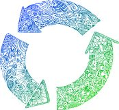 Sketchy doodles: recycle arrows. 3 blue-green recycle arrows. Sketched doodle  vector illustration Royalty Free Stock Photos