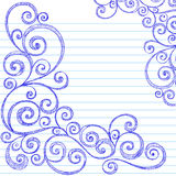 Sketchy Doodles Swirls on Notebook Paper Vector. Hand-Drawn Sketchy Swirl Doodles Border on Notebook Paper Background- Vector Illustration Royalty Free Stock Image