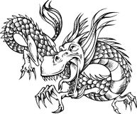 Sketchy Dragon Illustration. Sketchy Wild Dragon Vector Illustration Stock Photos