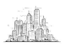 Sketchy Drawing of City High Rise Landscape. Vector cartoon sketchy hand drawing illustration of city high rise cityscape landscape with skyscraper buildings Royalty Free Stock Images