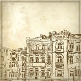 Sketchy drawing of historical building. In grunge background. My own artwork Royalty Free Stock Image