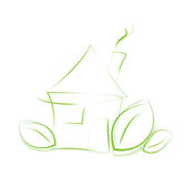 Sketchy eco icon house Stock Photography