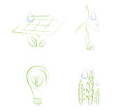 Sketchy eco icons Royalty Free Stock Images