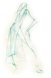 Sketchy Fashion Illustration. Created with pencil, expressive through spontaneous lines Royalty Free Stock Image