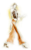Sketchy Fashion Illustration. Fashion illustration created in a loose, sketchy style Stock Photos