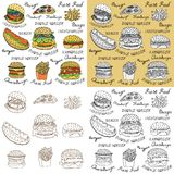 Sketchy fast food illustrations. Stock Photo